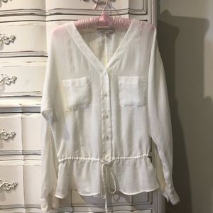 Beautiful Sheer Button Up Dressy Blouse